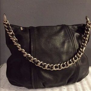 Calvin Klein Black Pebbled Hobo Bag w/ Chain Strap